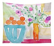 Oranges In Blue Bowl- Watercolor Painting Tapestry