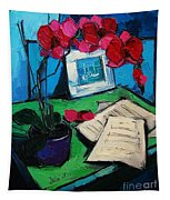 Orchid And Piano Sheets Tapestry