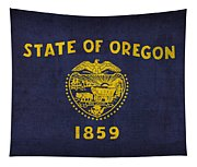 Oregon State Flag Art On Worn Canvas Tapestry