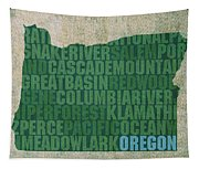 Oregon Word Art State Map On Canvas Tapestry