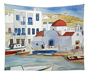 Watercolor - Mykonos Greece Detail Tapestry
