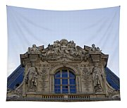 Ornate Architectural Artwork On The Musee Du Louvre Buildings In Paris France  Tapestry