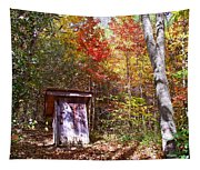 Out House In The Fall Tapestry