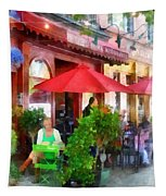 Outdoor Cafe With Red Umbrellas Tapestry
