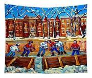 Outdoor Hockey Rink Winter Landscape Canadian Art Montreal Scenes Carole Spandau Tapestry