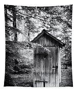 Outhouse In The Forest Black And White Tapestry