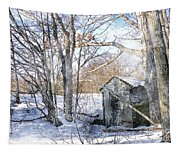 Outhouse In Winter Tapestry