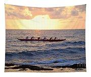 Outrigger Canoe At Sunset In Kailua Kona Tapestry
