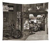 Outside The Old Motorcycle Shop - Spia Tapestry