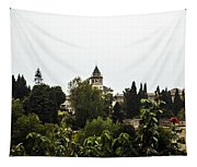 Overlooking The Alhambra On A Rainy Day - Granada - Spain Tapestry