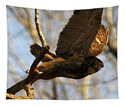 Owl Take Off Tapestry