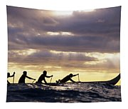 Paddlers Silhouetted Tapestry