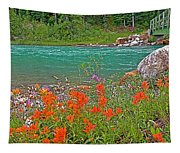 Paintbrush By Bow River In Banff Np-ab Tapestry