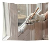 Paintbrush With White Paint In Hand Tapestry