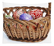 painted Easter Eggs in wicker basket Tapestry