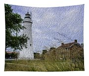 Painted Fort Gratiot Light House Tapestry