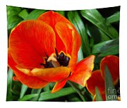 Painterly Red Tulips Tapestry
