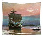 Painting Of The Ship The Mayflower 1620 Tapestry