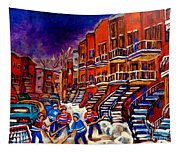 Paintings Of Montreal Hockey On Du Bullion Street Tapestry