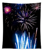 Pale Blue And Red Fireworks Tapestry