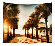 Palm Tree Sunrise Tapestry