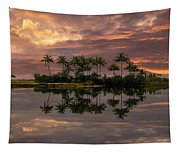 Palm Trees At Sunset Tapestry