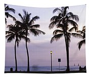 Palm Trees On The Beach, Waikiki Tapestry