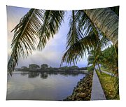 Palms Over The Waterway Tapestry