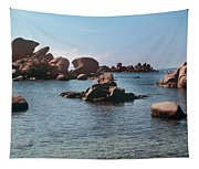 Palombaggia Beach And Rocks, Corsica Tapestry