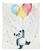 Panda Floating With Balloons Tapestry