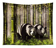 Pandas In A Bamboo Forest Tapestry