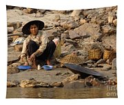 Panning For Gold Mekong River 1 Tapestry