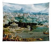 Panorama With The Abduction Of Helen Amidst The Wonders Of The Ancient World Tapestry