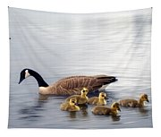Panoramic Goose Family Outing Tapestry