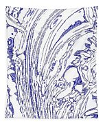 Panoramic Grunge Etching Royal Blue Color Tapestry