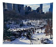 Panoramic View Of Ice Skating Wollman Tapestry