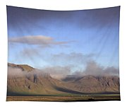 Panoramic View Of The Mountains Lit By The Sun Tapestry