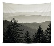 Panoramic View Of Trees With A Mountain Tapestry