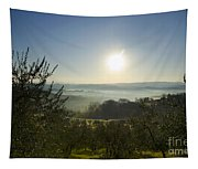 Panoramic View Over The Foggy Field Tapestry
