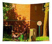 Papa And The Little Ones Sunday Afternoon Stroll On The Avenues Montreal City Scene Carole Spandau Tapestry