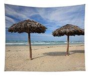 Parasols On Varadero Beach Tapestry