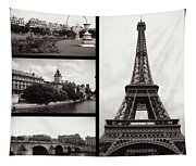 Paris Collage - Black And White Tapestry