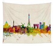 Paris France Skyline Panoramic Tapestry