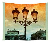 Paris Street Lamps With Textures And Colors Tapestry
