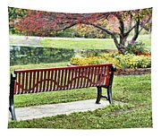 Park Bench By The Pond Tapestry