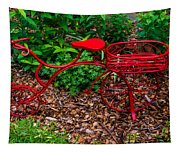 Parked Red Bicycle Tapestry