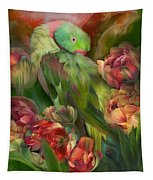 Parrot In Parrot Tulips Tapestry