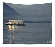 Passanger Ship At Night Tapestry