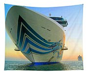 Passing Cruise Ships At Sunset Tapestry