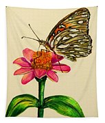 Passion Butterfly On Zinnia Tapestry